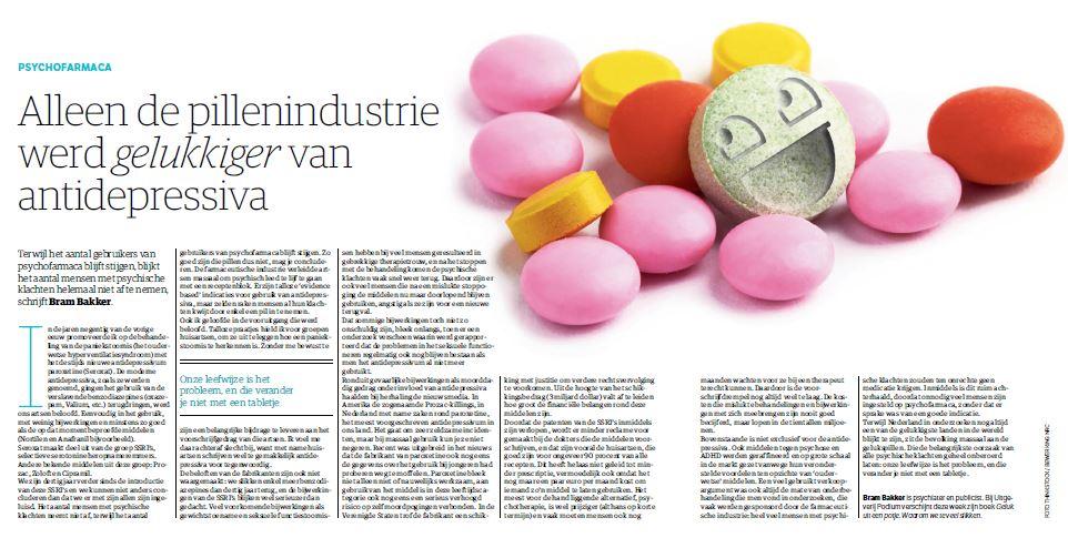 Alleen de pillenindustrie werd gelukkiger van antidepressiva