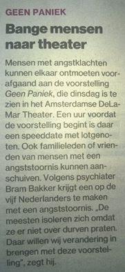 Angstige mensen ontmoeten elkaar in theater bij 'Geen Paniek'